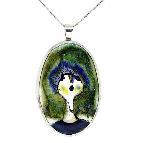 A Ceramic Hand Painted Face Sterling Silver Pendant and Chain