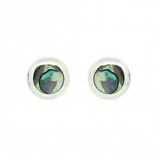 Abalone Shell Small round Sterling Silver Studs