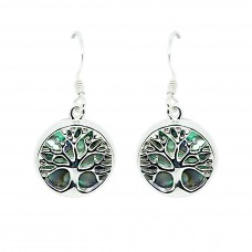 Abalone Shell Tree of Life Sterling Silver Drops