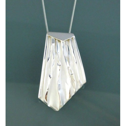 Brushed Silver Pendant and Chain