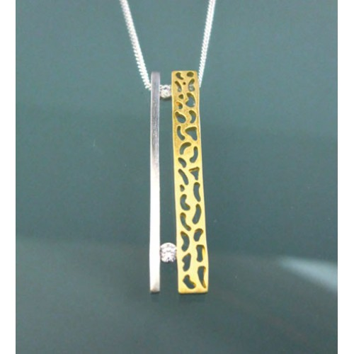 Brushed Silver and Gold Plated Pendant and Chain