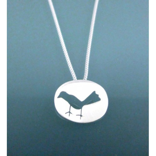 Little Brushed Silver Bird Pendant and Chain