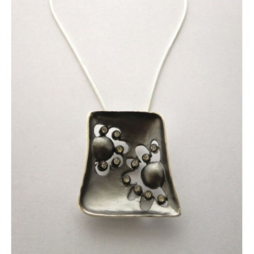 Oxidised and Cubic Zirconia Pendant and Chain