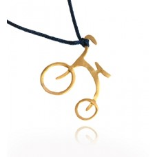 A Gold Plated sterling Silver Bike Necklace