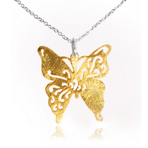 Brushed Gold Plated Butterfly and Chain