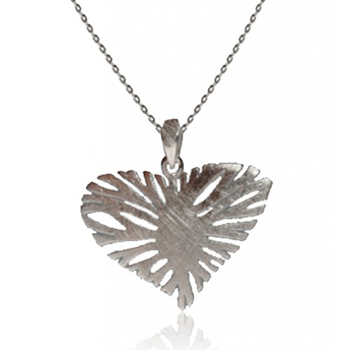 A Brushed Sterling Silver Heart Pendant and Chain