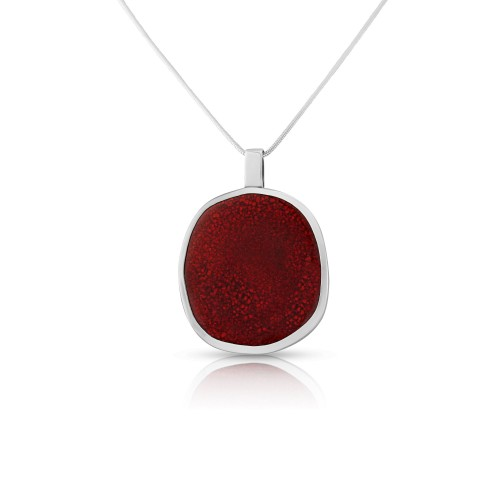 A Red Ceramic Hand Crafted Sterling Silver Pendant