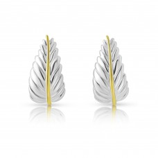 A Sterling Silver and Gold Plated Leaf Studs