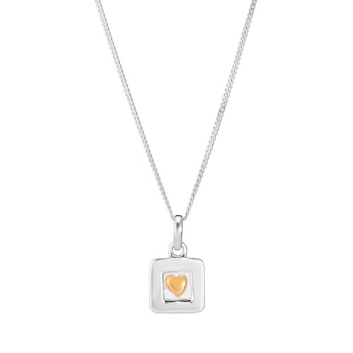 ✫A Sterling Silver and Gold Plated Heart Pendant Square and Silver Chain
