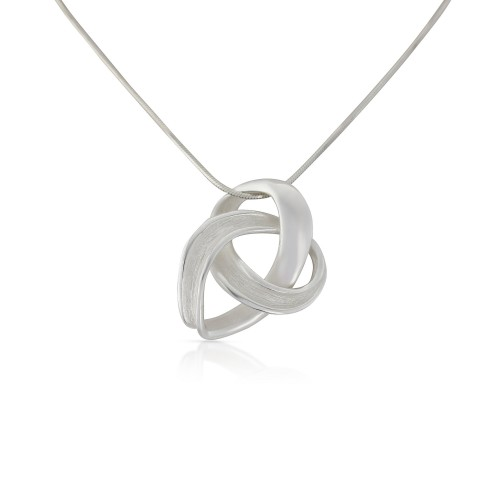 Infinity Pendant brushed/shiny silver by Silverwood Jewellery