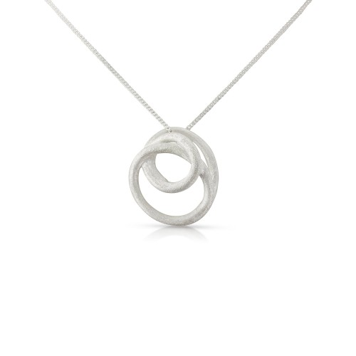 A Brushed Sterling Silver Swirl Circle Pendant and Chain