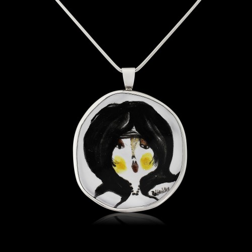 Black/White and yellow Ceramic Face Pendant