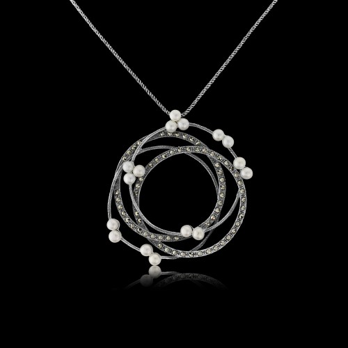 Marcaseite and Pearl Pendant and Chain