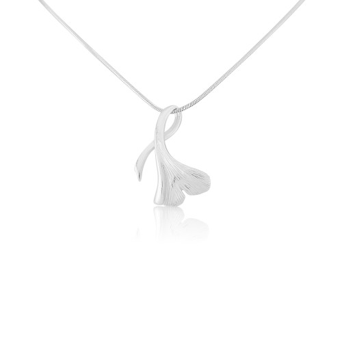 A Brushed Sterling Silver Leaf Pendant and Chain