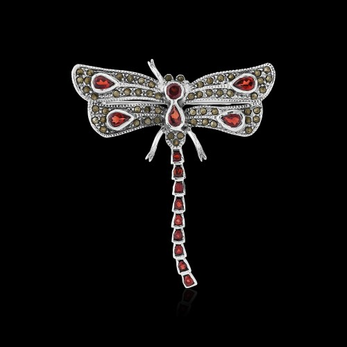 Marcaseite and Garnet Dragonfly Brooch