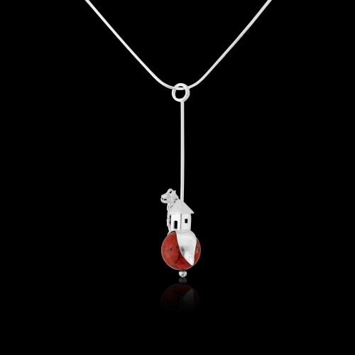 Funky Red Coral Pendant