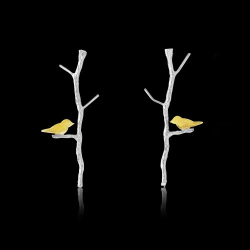 Yellow Gold Plated Bird on Branch Earrings