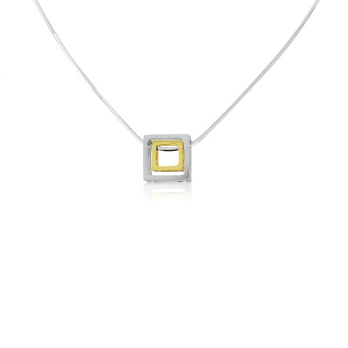 A Sterling Silver and Gold Plated Cube Pendant and Chain