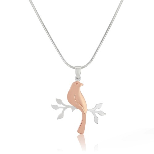 A Rose Gold Plated Sterling Silver Bird on Branch Pendant and Silver Chain
