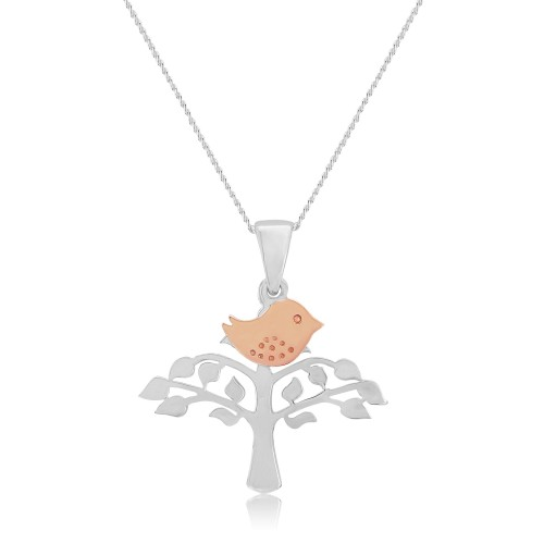 A Rose Gold Plated Sterling Silver, Bird on Tree, Pendant and Silver Chain