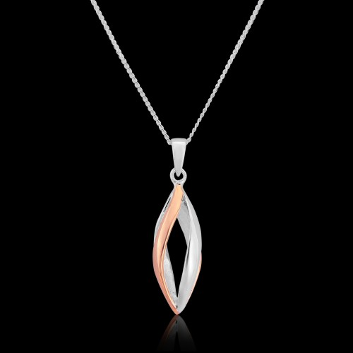 Rose Gold Plated and Sterling Silver Pendant and Chain