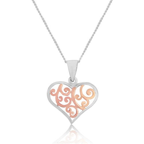 A Rose Gold Plated Sterling Silver Heart Pendant and Silver Chain