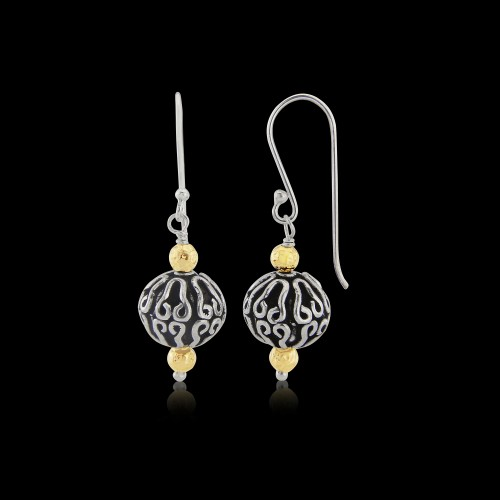 Oxidised Sterling Silver and Rolled Gold Drops