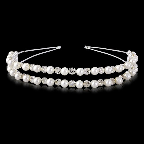 Chloe Double Pearl and Clear Stone Hairband