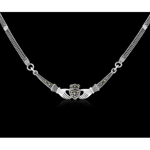 Marcaseite Claddagh Necklace