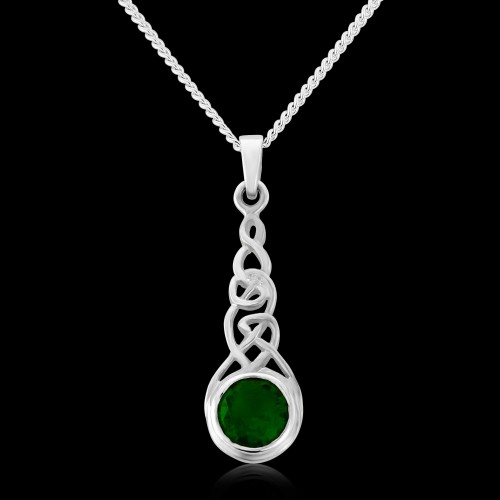 "Silver and Green Stone Pendant and 16"" Curb Chain"