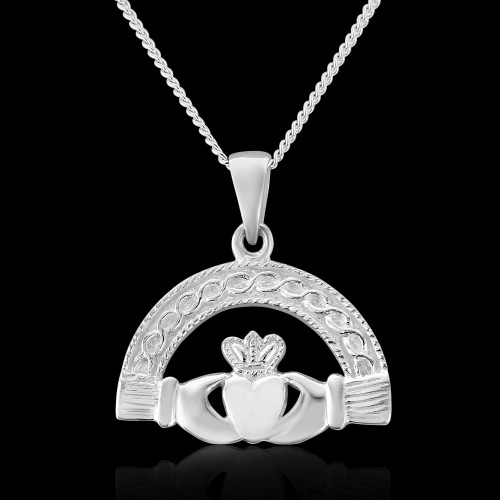 "Silver semi Circle Claddagh Pendant and 16"" Curb Chain"