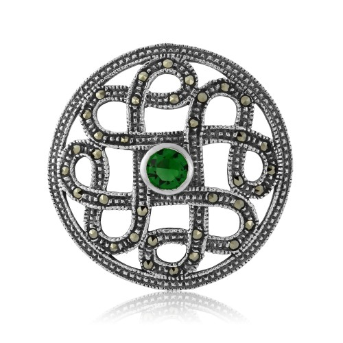 Marcaseite Celtic Brooch with Green Cubic Zirconia Stone