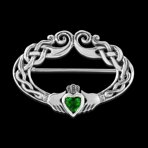 Green Cubic Zirconia Stone Claddagh Brooch