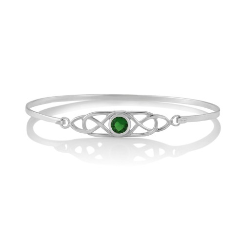 Celtic Knot Green Cubic Zirconia Bangle