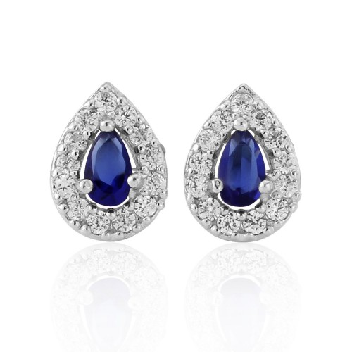 Navy and White Cubic Zirconia Tear Shaped Stud Earrings