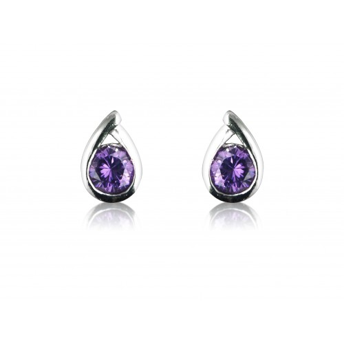 Amethyst Cz and Silver Studs