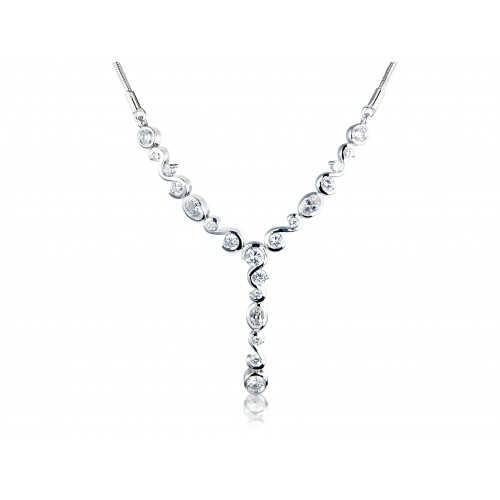 White Cubic Zirconia and Sterling Silver Necklace