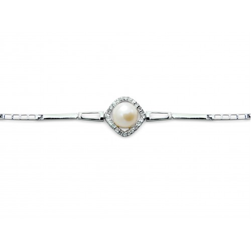 White Cubic Zirconia and Pearl Bracelet