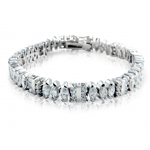 White Cubic Zirconia and Sterling Silver Bracelet
