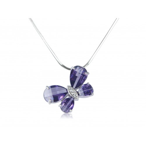 Amethyst Cubic Zirconia Pendant and Chain
