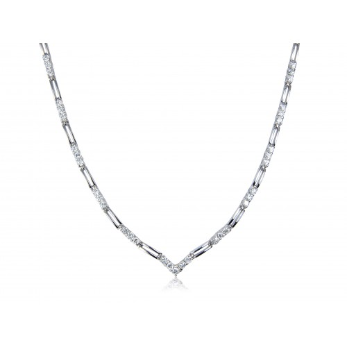 White Cubic Zirconia and Sterling Silver V Shape Necklace