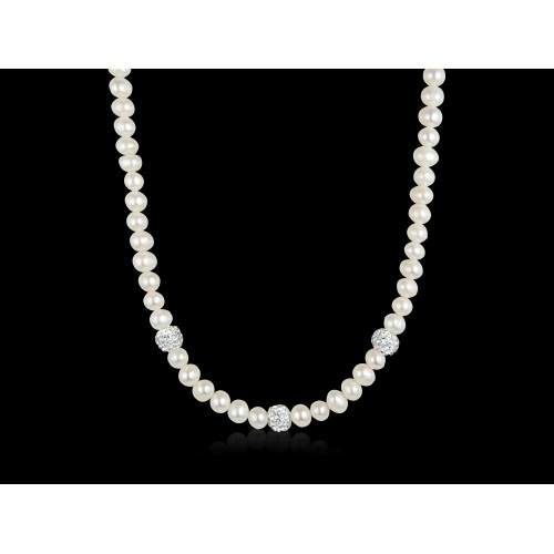 Handmade Fresh Water Pearl and Glitter Ball Necklace