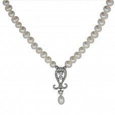 Handmade Freshwater Cultured Pearls with a Cubic Zirconia Pendant