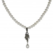 Handmade Freshwater Cultured pearl Necklace With Marcasite and Pearl Pendant