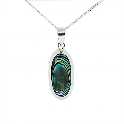 Abalone Shell Sterling Silver Pendant and Chain