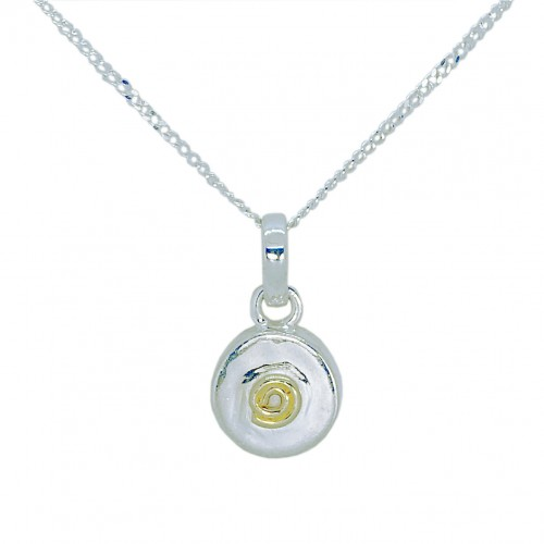 Irish Hallmarked Sterling Silver and Gold Plated Spiral  pendant