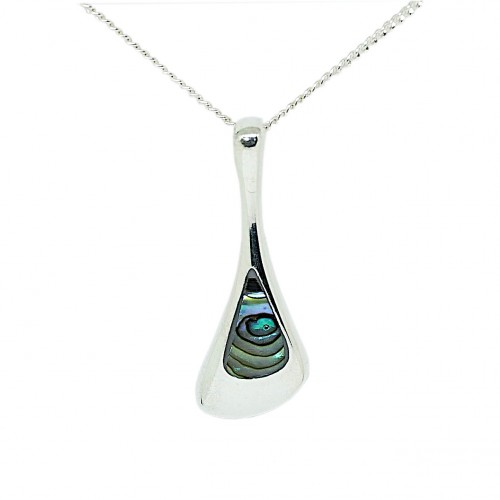Abalone Shell Sterling Silver Small Pendant and Chain