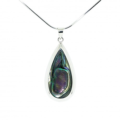 Abalone Sterling Silver tear Shaped Pendant and Chain