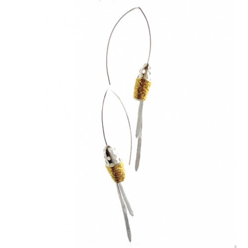 Contemporary  Brushed silver and Gold plated Drops