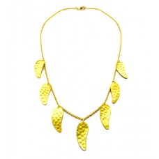 A Gold Plated Sterling Silver Leaf Necklace